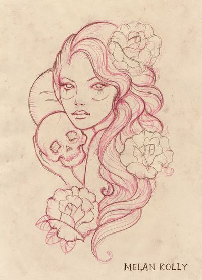 Gypsy Girls with Skull and Rose Art Print
