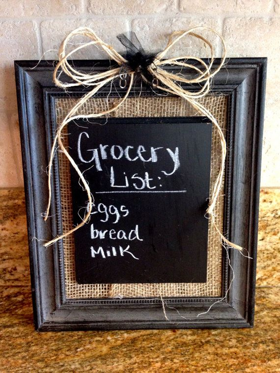 New Chalkboard Picture Frame with Burlap Backing! Available on my Etsy Shop!