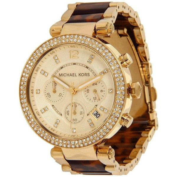 Michael Kors MK5688 - Parker Chronograph ($295) ❤ liked on Polyvore featuring jewelry, watches, accessories, bracelets, fashion watches, analog wrist watch, chronograph watch, tortoise shell watches, gold-tone watches and bezel watches