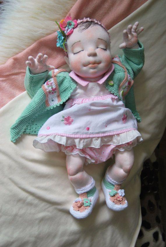 Alma 195 Waldorf Doll  Handmade  Cloth Doll  by MaryUniqueDoll