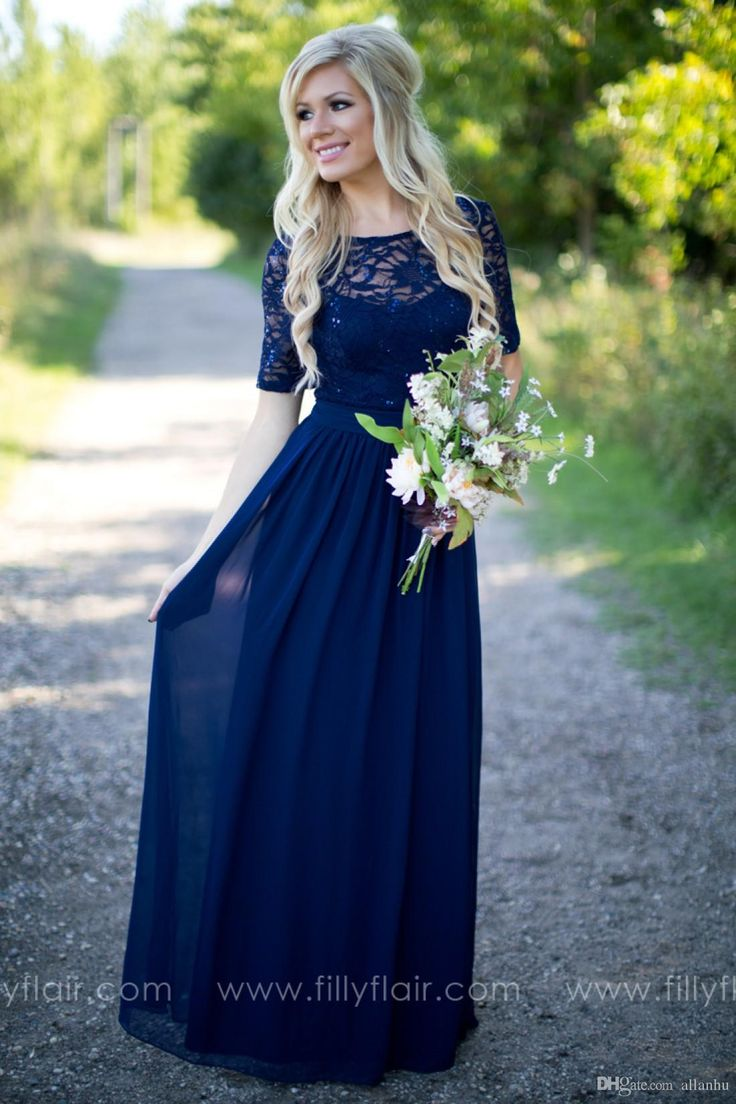 2016 Country Style Navy Blue Bridesmaid Dresses Sheer Crew Neck Lace Top Short Sleeves Chiffon Backless Long Maid of the Honor Dresses