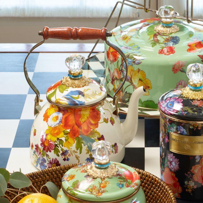 MacKenzie-Childs - Flower Market 2 Quart Tea Kettle - White