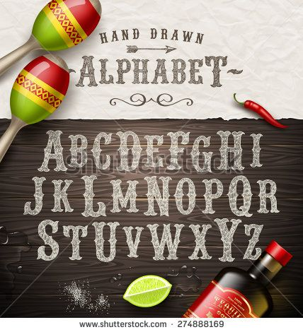 Vector hand drawn vintage alphabet. Old Mexican signboard style font free stock image to download.