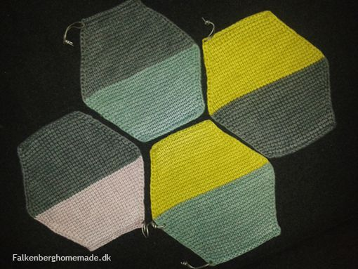 Tunisian crochet / tunesisk hækling /hakning / sekskantede grydelapper