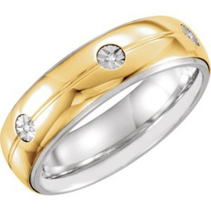 651732 / Sterling Silver/10kt Yellow / 11.00 / 7mm .03CTW Dia Precious Bond Band
