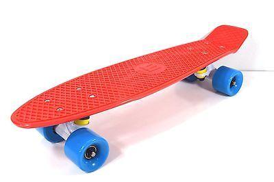 """Пенни стиль 22 """"x 6"""" красный / синий Пластиковый мини CRUISER скейтборд Banana доска"""