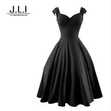 2015 Audrey Hepburn 50s dress skater dress Black dress red Sleeveless plus size women clothing vintage Formal dresses vestidos