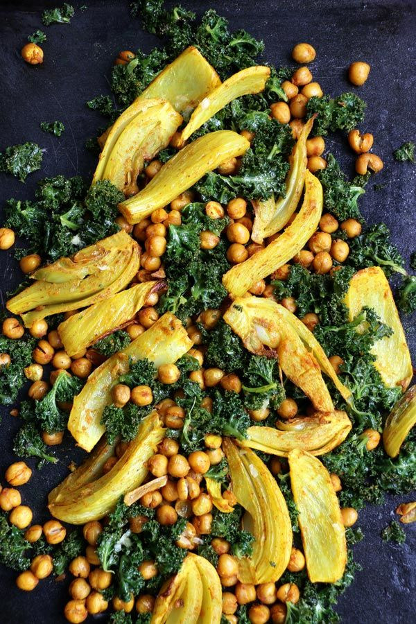turmeric roasted fennel chickpeas and kale salad - Ina Garten Fennel Salad