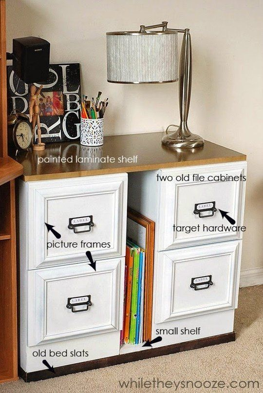 Using Picture Frames to create Faux Woodwork, from While They Snooze: Virtually all furnishings look better when they have some apparent structure. While clean lines work for many pieces, the clean lines of a metal file cabinet leave a lot to be desired. By using cheap frames to create a faux woodwork look, these cabinets are transformed.