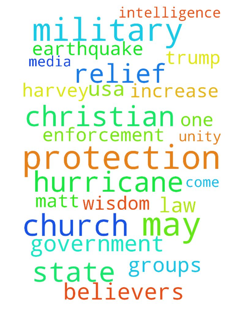 Kingdom of God/Our Needs/Church Leadshp/USA/Trump& Cab/Gov/Mil/US+World Crises - Gods Kingdom, Our Need, Christian Leaders amp; Unity of The Body of Christ, USA Trump amp; Cabinet, Government, Military amp; Law Enforcement, Increase in U.S.A.s CyberSecurity, Increase in Bankings Protection of Personal Information, Hurricane Harvey Relief, Preparation for Irma and Cleanup of Its Aftermath in The Caribbean amp; Bahamas, Relief for Oaxaca, Mexico after an 8.1 Earthquake, Relief of The Pacific…