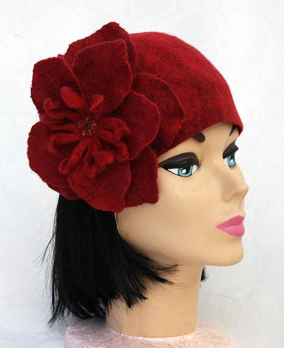 Felted wool beanie red wool hat winter fall beanie flower felt