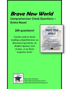 Brave New World Comprehension Check/ Study Guide Questions $6.99