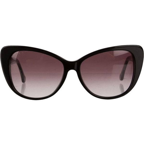 Pre-owned Balenciaga Sunglasses ($195) ❤ liked on Polyvore featuring accessories, eyewear, sunglasses, black, logo sunglasses, black cat eye glasses, black cateye sunglasses, balenciaga sunglasses and cateye sunglasses