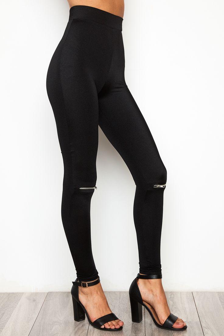 Zipper Knee Shiny Legging