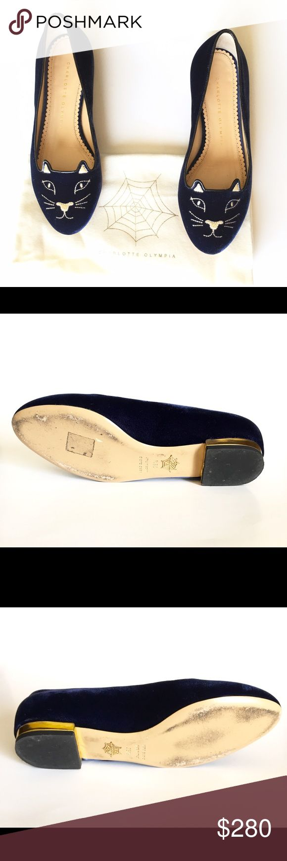 Charlotte Olympia womens kitty flats size 5.5 Charlotte Olympia kitty flats. Preowned soles shoe signs of wear. Comes with box and dustbag  Charlotte Olympia kitty flats  An eye-catching smoking slipper is embroidered at the toe with shining metallic thread in a saucy cat face—while a polished golden heel rand adds an extra kick of gleam. Slip-on style. Leather or textile upper/leather lining and sole. made in Italy.   Kitty flats have been very popular among celebrities and fashion bloggers…