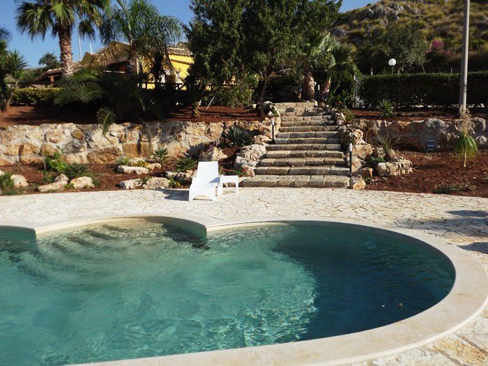 The beautiful pool of Villa Elena, in the surroundings of the delightful village of Scopello, a few steps from the crystal-clear waters of Cala Bianca, one of the most beautiful coves of the Gulf of Castellammare. http://www.dreamsicilyvillas.com/sicily-villas-with-pool/villa-elena/