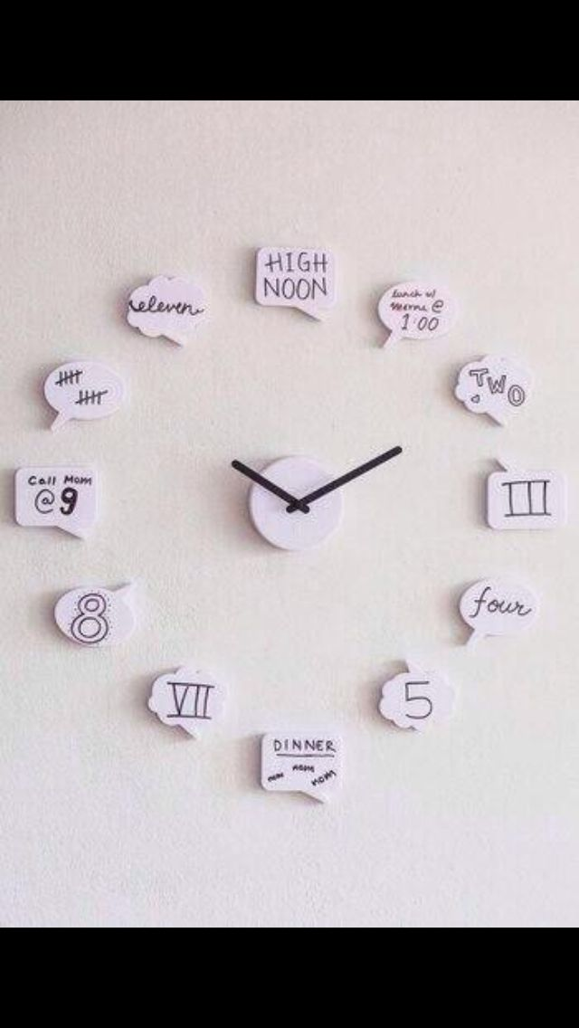 """Adorable diy clock! You can dry erase the clock """"numbers"""" if your schedule changes a lot as well."""