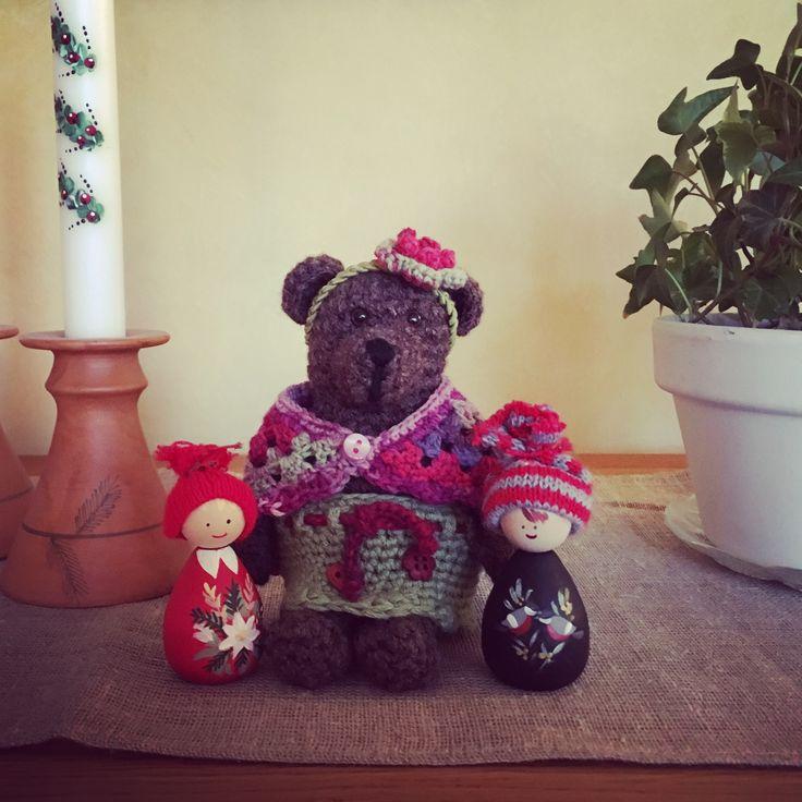 Crochet Teddybear christmas. Virkad julfin nallebjörn.