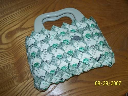Money Bag Made Out Of 170 Dollar Bills Made Out Of