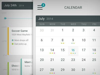 iOS Calendar #UI #dashboard #table #calendar #colour
