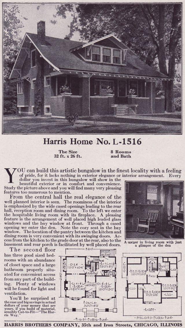 1918 Craftsman Style Bungalow Harris Bros Co Kit Homes
