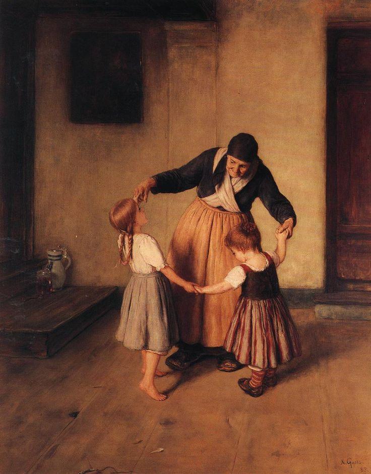 Nikolaos Gyzis (Greek 1842–1901) [Munich School] Grandma and Children, 1883.