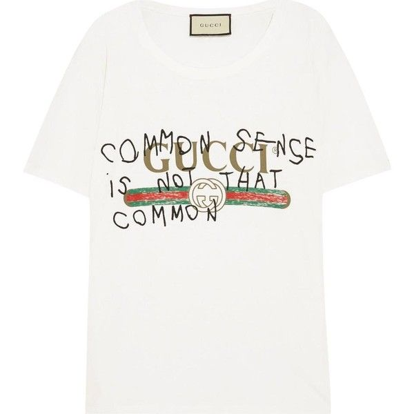 Gucci Coco Capitan Logo T Shirt (€455) ❤ liked on Polyvore featuring tops, t-shirts, gucci top, gucci tee, white tee, white t shirt and logo top