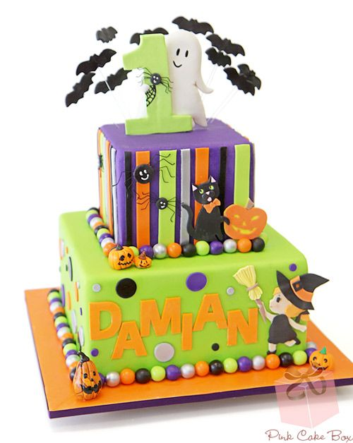 1st Birthday Halloween Cake by Pink Cake Box in Denville, NJ.  More photos and videos at http://blog.pinkcakebox.com/halloween-birthday-cake-1st-2013-10-19.htm
