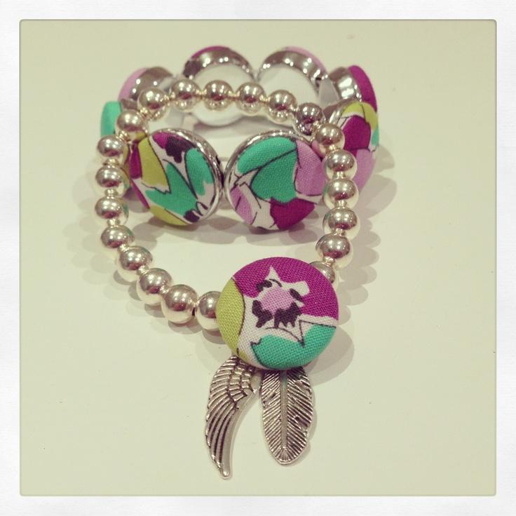 Combination bracelets. Fabric button and beaded bracelets
