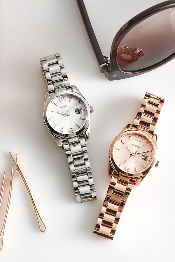 Currently trending: #Fossil Small Perfect Boyfriend watch in Silver and Rose Gold.