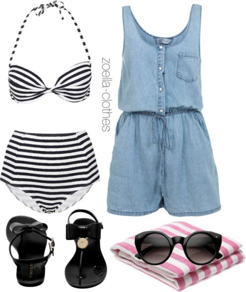 Beach by zoella-clothes featuring topshop bikiniMiss Selfridge jumpsuits romper / Topshop  bikini, $46 / Mulberry jelly sandals / Hipster sunglasses / FRESCOBOL CARIOCA Pattern Linen Beach Towel