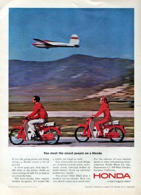 1964 Honda Cub 50 Motorcycle Original Color Ad original
