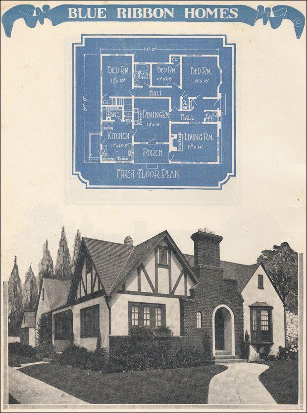 1920s English Revival House Plan - 1924 Radford's Blue Ribbon Homes - Vintage House Design