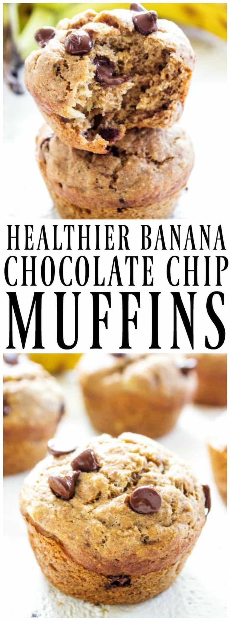 {HEALTHIER} BANANA CHOCOLATE CHIP MUFFINS - A Dash of Sanity