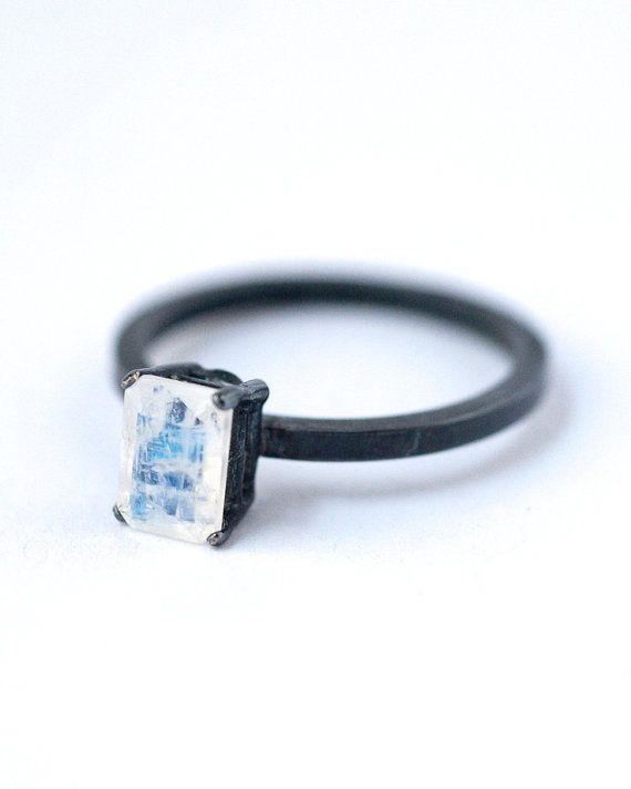 Emerald Cut Rainbow Moonstone Ring Oxidized by LoveGemStudio