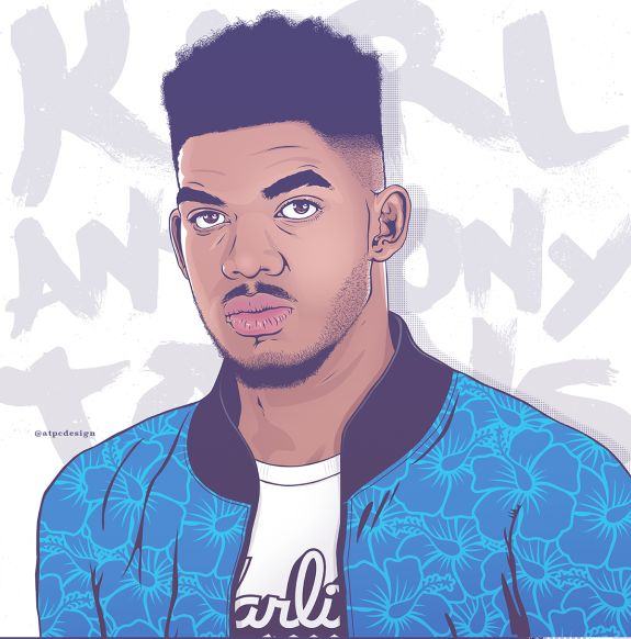 """Designer Nathan Walker from Austin, Texas cleanly captures Minnesota Timberwolves #1 pick Karl-Anthony Towns as his alter-ego """"Karlito""""."""