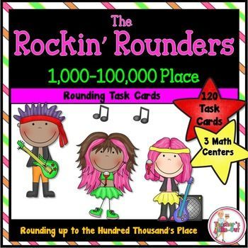 Meet the Rockin Rounders! This fun math center has students rounding 4, 5, and 6-Digit Numbers to the Nearest ten, hundred, thousand, ten thousand, and/or hundred thousand. It includes 4 centers. $