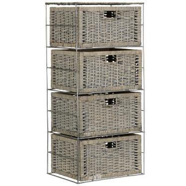 £65, H80 x W36 x D26cm, John Lewis Split Willow 4 Drawer Storage Unit, Grey