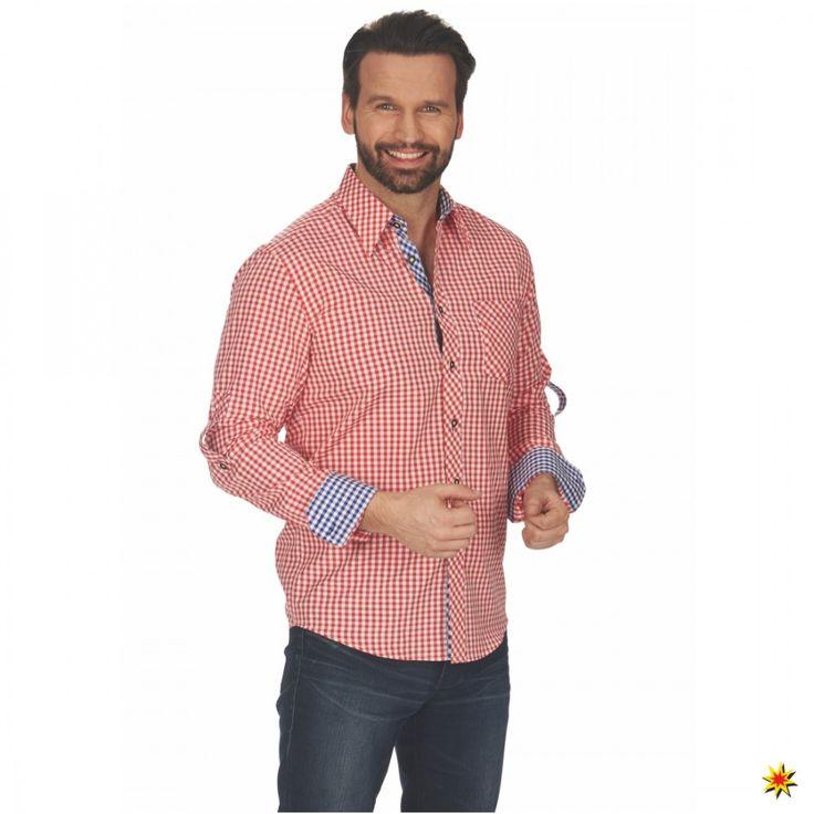 Herren Karo-Hemd rot-weiß