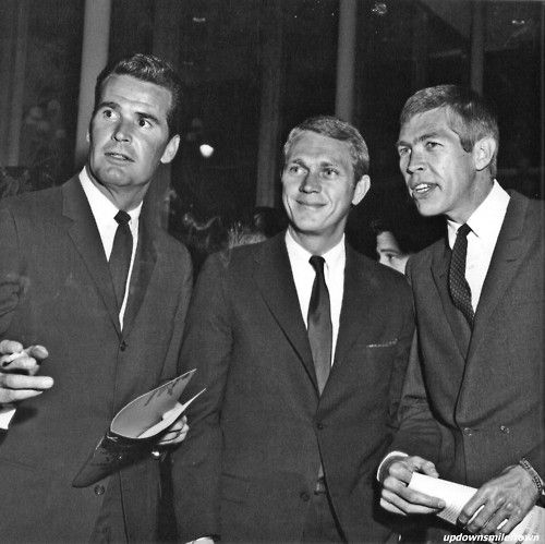 James Garner, Steve McQueen, and James Coburn at a private screening of their film, The Great Escape