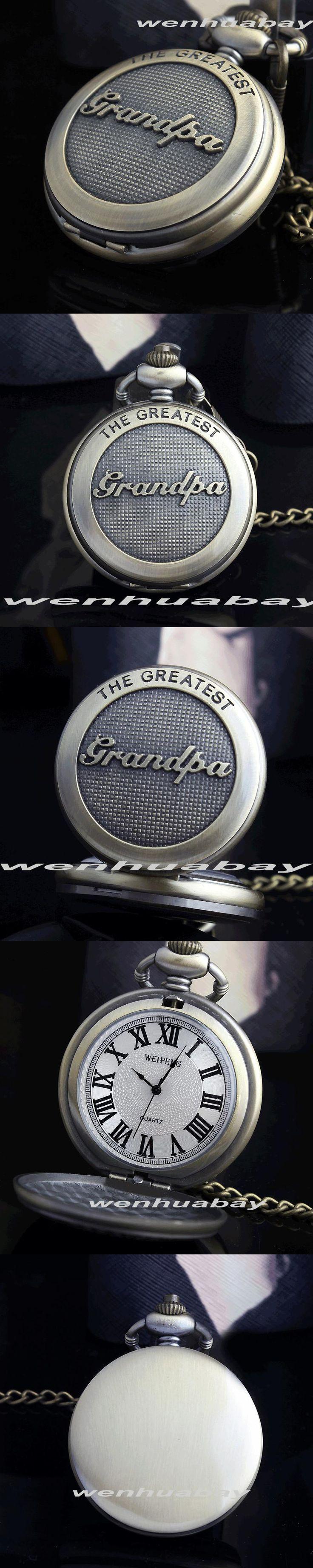 Bronze The Greatst Grandpa Retro Pocket Watch Big Size Necklace Fob Chain Roman Numberal Vintage Men's Grandpa Birthday Gift