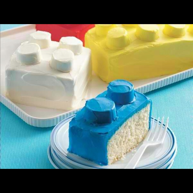 Lego Cake .... rectangle cakes with marshmallows and icing. .. easy