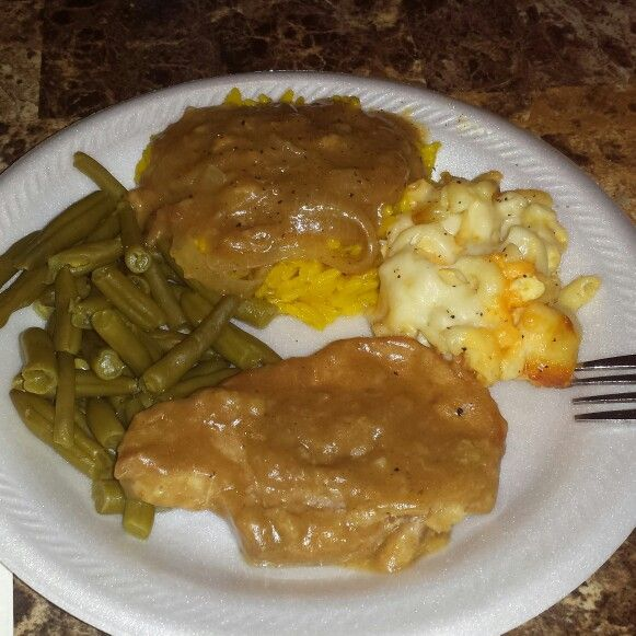 Dinner is served: Mac and cheese, Smothered pork chops, Rice and gravy ...