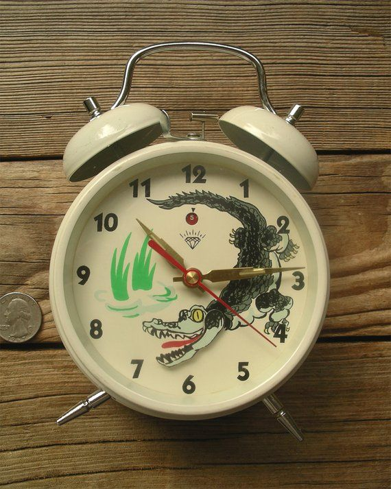 Vintage Animated Clock Shanghai Diamond Zuanshi Twin Bell Alarm