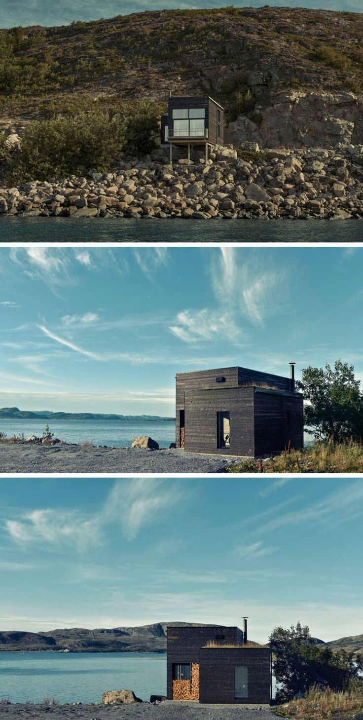 11 Small Modern House Designs From Around The World | Tucked into the rocks of the Norwegian coast, this small dark wood home is just big enough to create a cozy space for one or two people.
