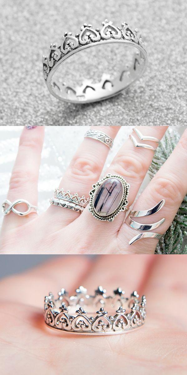 ➳ Crown 925 Stack Ring ➳ // boholake // princess // tiara // rings // jewellery // jewelry // sterling silver // boho // bohemian // jewels // hippie // gypsy www.boholake.co.uk