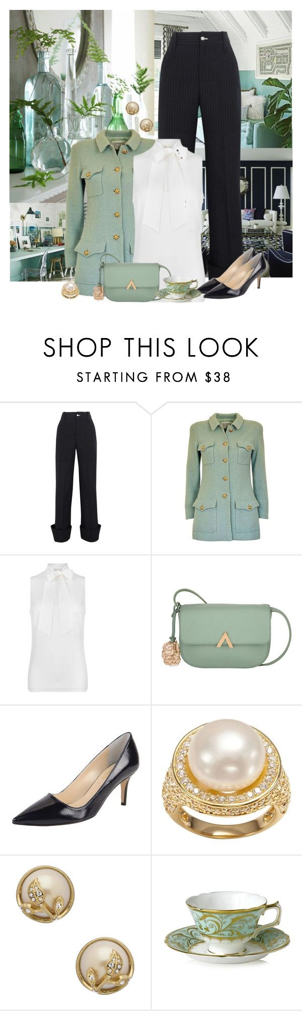 """""""Tailored"""" by kimzarad1 ❤ liked on Polyvore featuring Jacquemus, Chanel, MICHAEL Michael Kors, Butter Shoes, SOPHIE MILLER, Carolee and Royal Crown Derby"""
