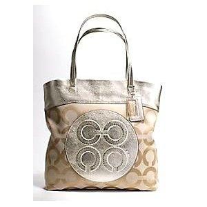 #coach handbags Coach 15013 Julia Op Art Perry Tote Pale Khaki Gold (Apparel)