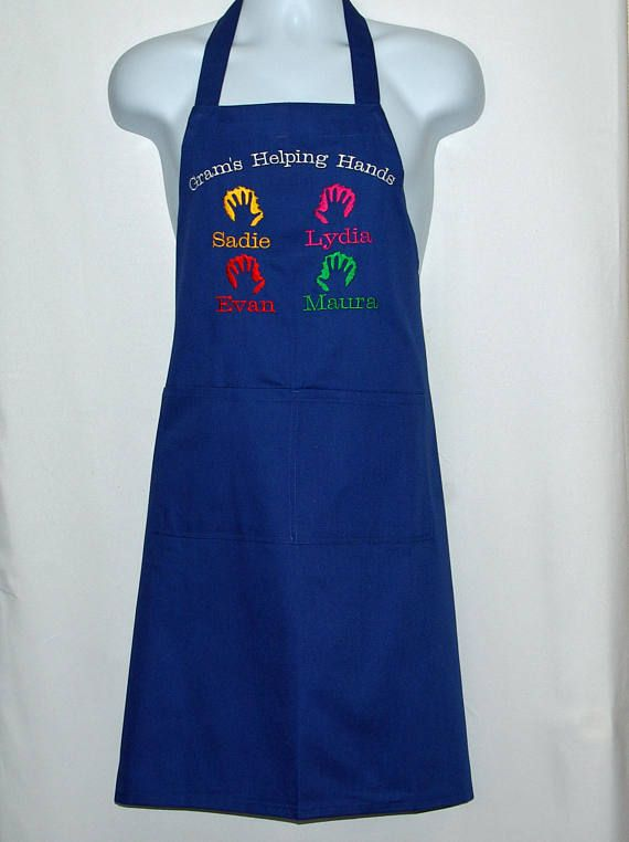 Grams Helping Hands Apron Custom Grandparent Gift Personalize