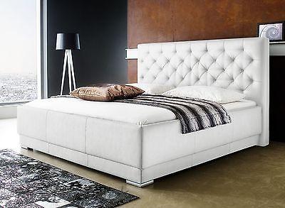 Polsterbett Kunst-Lederbett Weiß Bettgestell Doppelbett Komforthöhe Salomon